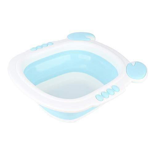 JACKWS Baby Waschbecken, Faltbarer Babys Dish Tub Tragbare Camp Waschbecken Kunststoff zusammenklappbare Waschbecken for Home Reise Verwendung im Freien BPA frei (Farbe: blau) (Color : Blue)