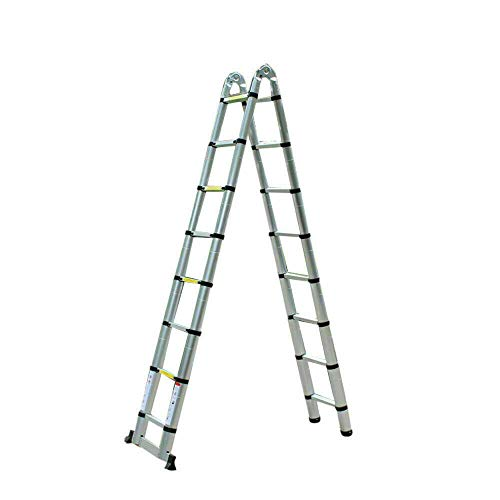 Escalera extensible de 5 m, antideslizante, plegable, de aluminio, soporta hasta 150...