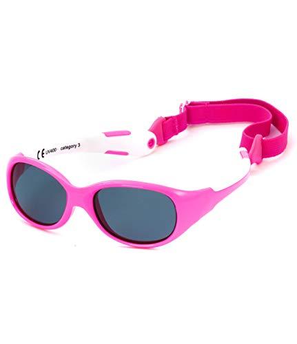 Kiddus Gafas de Sol de UNA SOLA PIEZA para Bebés a partir de 0 Meses. Prácticamente IRROMPIBLES. 100% Protección UV400. Muy FLEXIBLES. Sin BPA. Con Banda Ajustable y Extraíble. ALLROAD (57 Rosa neon)