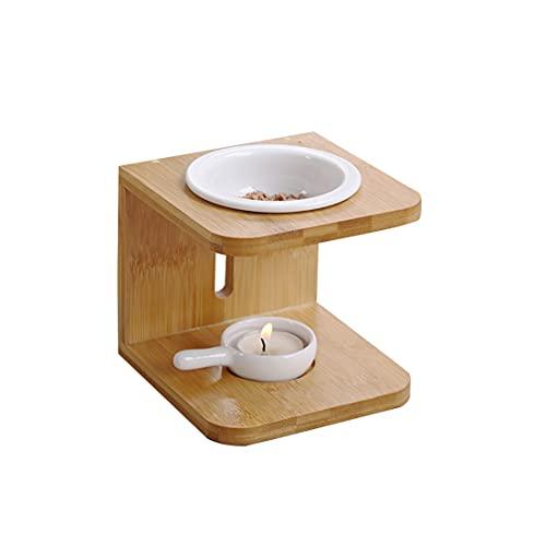 ADMIN Bambus Duftlampe Teelicht mit Kerzenhalter 2er Set, Wachs Aromalampe Duftöl Kerzenhalter Aromabrenner für Duftöl und Duftwachs