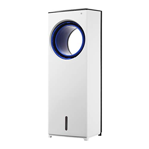 HYD-Parts Bladeless Cool Tower Fan, 2-in-1 Evaporative Cooler with Remote Control and 1 Gallon Large Water Tank,White