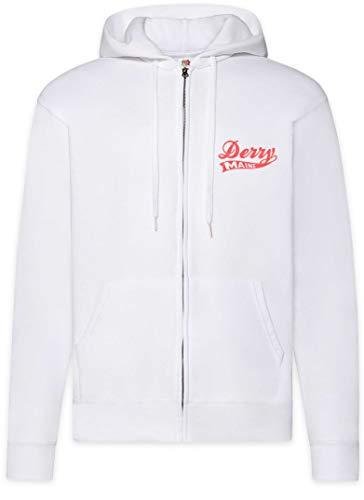 Urban Backwoods Derry Maine Herren Zipper Hoodie Kapuzenpullover Weiß Größe S