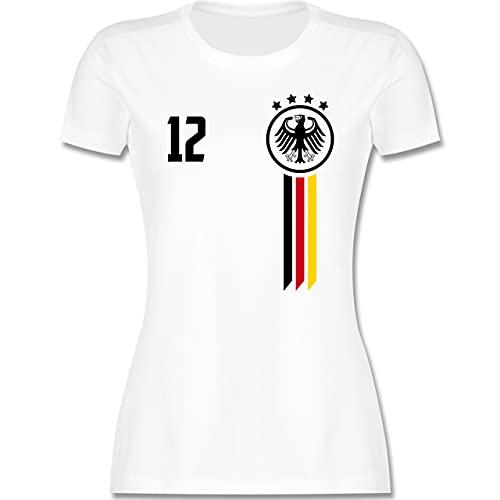 Fussball EM 2021 Fanartikel - 12. Mann Deutschland EM - L - Weiß - wm t Shirt Deutschland - L191 - Tailliertes Tshirt für Damen und Frauen T-Shirt