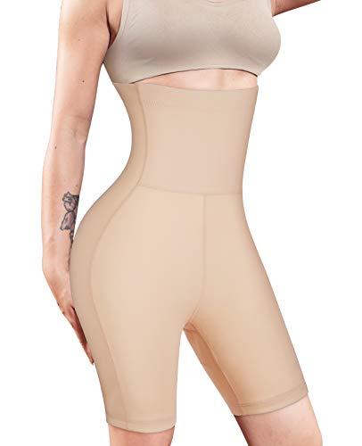 Nebility Women Waist Trainer Shapewear High Waist Tummy Control Butt Lifter Panty Thigh Slimmer Beige