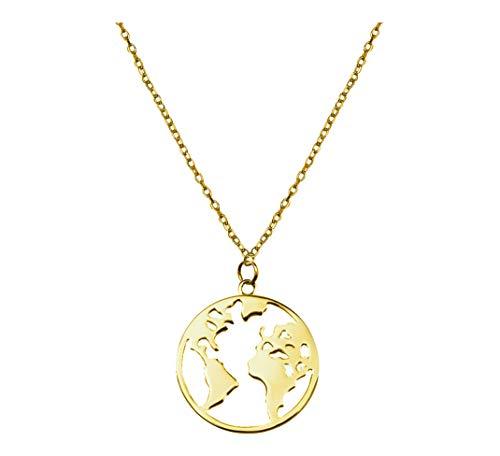 SOFIA MILANI - Collar para Mujeres en Plata de Ley 925 - Chapado en Oro - Colgante Mapa del Mundo Global - 50216