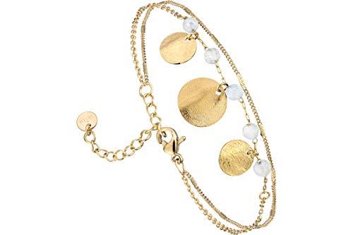 IKITA Bracelet Chain 2 Rows Beads, Metallic Gold, Jade