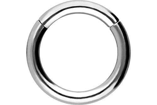 PIERCINGLINE® anello segmentato, in titani, clicker, piercing per septum, trago, elica, orecchio, naso, labbro, petto e Spessore anello: 1,6 mm, cod. TT280B-8