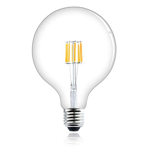 Bonlux 8 W dimmbar E27 Sockel G125 Globe LED Filament ES Edison-Schraubsockel Glühbirne Vintage 800 Lumen entspricht 75 W Halogenlampe (Kaltweiß 6000 K)
