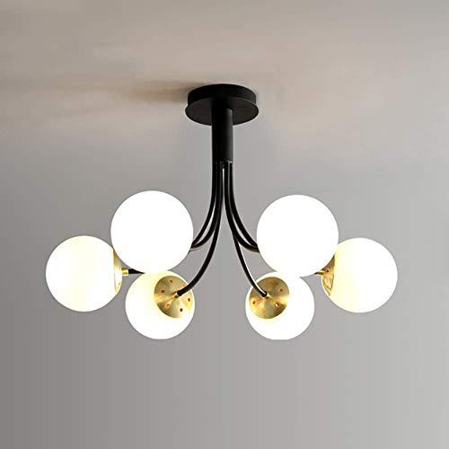 Lustre boule de verre antique du milieu du siècle, pendentif de branches de 6 lumières encastré E26 Starburst plafonnier décor intérieur lampe suspendue finition bronze pour couloir chambre
