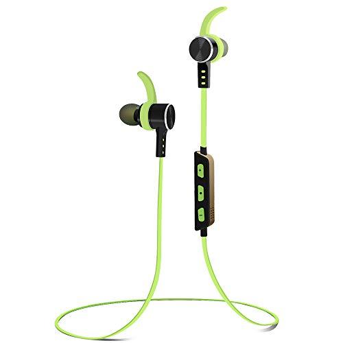 Alitoo Auriculares Bluetooth Magnéticos Inálambrico Cascos Deportivos,In Ear Estéreo Earphone con Micrófono Cancelación de Ruido CVC6.0 Manos Libres para Android, Smartphone,Móvil,iPad (Verde)