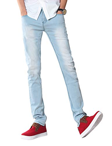 Demon&Hunter Men's Blue Skinny Stretch Jeans Slim Fit Pencil Pants S8L08(33)