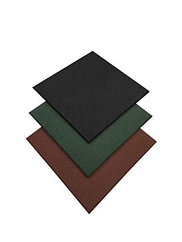 Pack loseta caucho para gimnasio   Medida 50 x 50 x 1,5 cm   Suelo para crossfit   Pavimento de caucho profesional  Suelo entrenamiento profesional (8 losetas (2 m²), Negra)