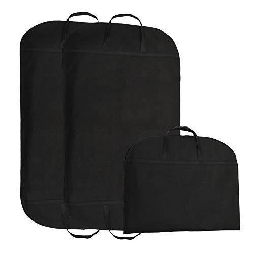 INMOZATA 3pcs Suit Covers Clothes Carrier Bag Travel Garment Bags Covers with Handles Dress Covers Wardrobe Storage 100 x 60cm