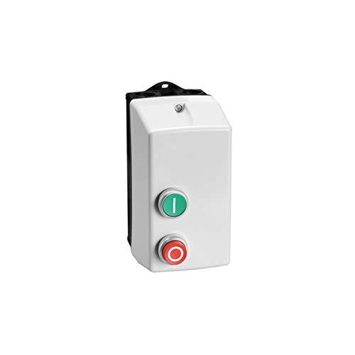 Arrancador directo en caja con pulsador de marcha y paro/reset, con relé térmico, 2,3A 230V AC, 9,2 x 16 x 18,7 centímetros, color gris (Referencia: M0P009122302V3)