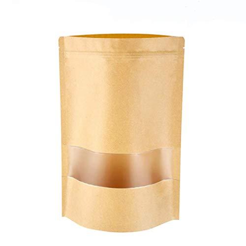 meridy 100Pcs Sacchetto di Carta Kraft Autosigillante Marrone Stand Up con Finestra Trasparente Zipper con Chiusura Sacchetti Usato per Conservare Il Cibo Pane Chicchi di caffè Noccioline Snack9*14cm