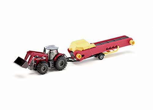 siku 1996 Tractor Massey Ferguson con cinta transportadora, Incl. cargador frontal, Apto para modelos siku misma escala, 1:50, Metal/Plástico, Rojo