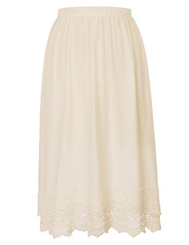 Dress and Skirt Extender With Lace or Ruffle Trim (XXL, Beige)