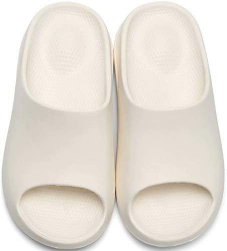 GILKUO Badeschuhe Damen Herren Badeschlappen Dusch Schuhe Bade Pantolette BadePantoletten Sommer Hausschuhe Sandalen Badelatschen Weiß Größe 37 38
