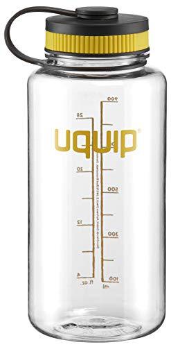 Uquip Thirsty 2.0 Botella de Agua - Tritan Material mas Duradero - 1 litro - con Cierre de Rosca, Color Transparente/Negro Amarillo