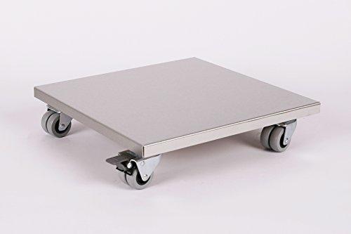 Möbelroller/Pflanzenroller (Profi) 40x40 cm, Edelstahl, 300kg, Doppelrollen + Bremse, Marke: Szagato, Made in Germany (Design-Pflanzenroller Transportroller Rollbrett)