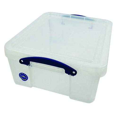 Really Useful Box 3 x 18 Liter - 480 x 390 x 200 mm - für 93 CDs / 44 DVDs - transparent