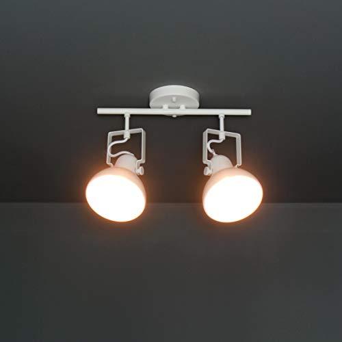 Foco blanco de diseño retro de metal, 2 bombillas E14 prácticas Dalllas Spot lámpara de techo salón pasillo