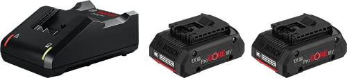 Bosch Professional 18V System ProCORE18V 4.0Ah - Set baterías de litio + cargador (2 baterías x 4.0 Ah, cargador rápido GAL 18V-40)