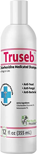 Truseb Medicated Shampoo for Dogs, Cats and Horses with Chlorhexidine and Ketoconazole - Hot Spots, Ringworm, Yeast, Fungal, Yeast Infections, Ringworm, Pyoderma & Skin Allergies U.S.A (12 Oz)