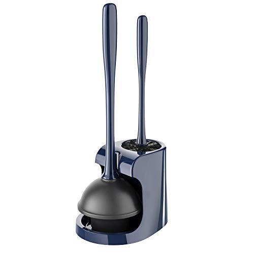 MR.SIGA Toilet Plunger and Bowl Brush Combo for Bathroom Cleaning, Navy, 1 Set