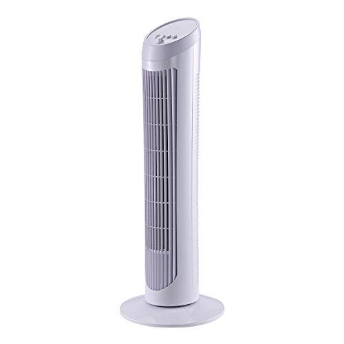 HOMCOM Ventilador de Torre Oscilante 70° Tower Fan Columna Ventilador de Pie Potencia 45W 3 Velocidad Asa de Transporte Hogar Oficina φ27x75cm Blanco