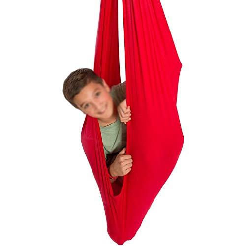 Terapia para niños Swing Hamaca de Malla Transpirable Ideal para Autismo TDAH y integración sensorial Snuggle Hamacas de Giro (Color : Red, Size : 150x280cm/59x110in)