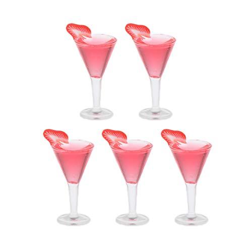 freneci Bicchieri da Vino in Plastica in Miniatura da 5 Pezzi Modello 1/12 Cucina per Casa delle Bambole - Un
