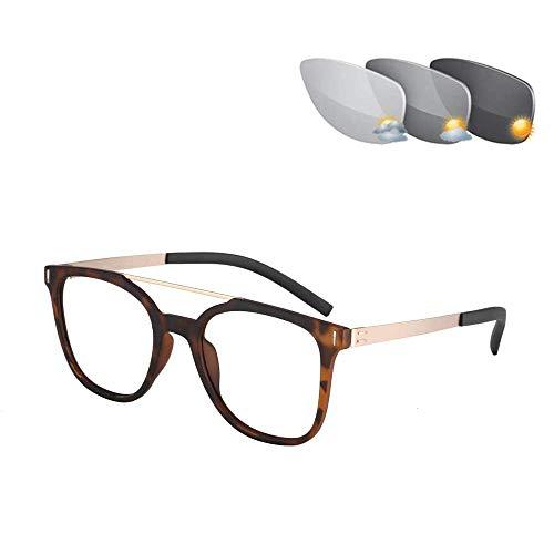 Gafas De Lectura Fotocromáticas Bifocales Graduadas, Montura De Metal Óptico, Lector Al Aire Libre Con Visión De Futuro UV400, Gafas De Sol Piloto Antirreflejo,Amber + 100