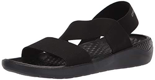 Crocs Women's LiteRide Stretch Sandals, Black/Black, 5 Women