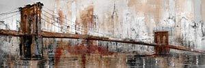 Wjwiang Retro Bridge Schilderij Wall Art Canvas On The Wall of Modern City Landscape Schilderij Art Poster Afbeelding voor thuis 40x120cm unframed Meerkleurig.