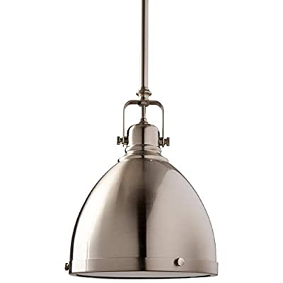 Stone & Beam Industrial Hood Pendant Light Chandelier - 8 Inch Shade, 13 - 61 Inch Cord, Brushed Nickel