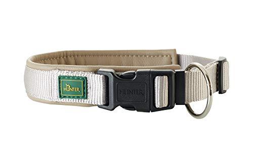 HUNTER SEVILLA VARIO PLUS Halsung für Hunde, Nylon, mit Kunstleder unterlegt, Zugentlastung, 50, grau/taupe