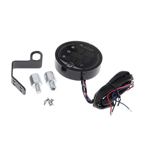 Gazechimp Impermeable Indicador LED de Visualización de Temperatura Y Voltaje para Motocicleta LED Tacómetro Marino