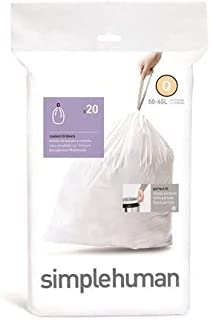 Simplehuman Bin Trash Can Bags Liners New 50-65l Litres Size Q Box Pack of 20