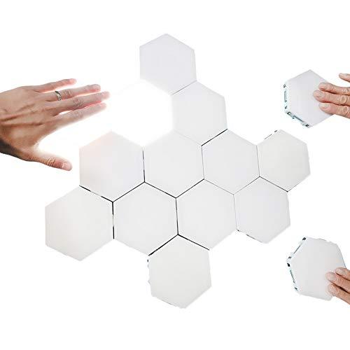 Creative Hexagonal Wall Lights Smart Touch-Sensitive LED Honeycomb Night Lights DIY Modular Assembled Splicing Modern Wall Lamps Home Decor (10 Pack)