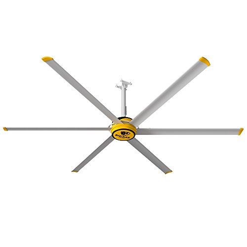 Big Ass Fans 3025 10 foot Commercial Indoor Ceiling Fan with Universal Mount and 2 foot Extension, Variable Speed Wall Control, Quiet (<35 dBA)