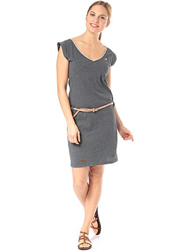 Ragwear SLAVKA Damen,Kleid,Sommerkleid,ärmellos,vegan,V-Ausschnitt,Taillengürtel,Black,L