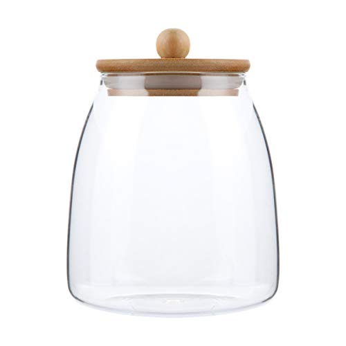 GARNECK Tarro de cristal transparente con tapa de madera, recipiente de cierre hermético para alimentos, tarro de granos para judías de té-900 ml
