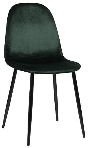 CLP Silla De Comedor Napier En Tela Terciopelo o Polipiel I Butaca De Salón Moderna con Base De Metal, Color:Verde Claro, Material de Base:Terciopelo