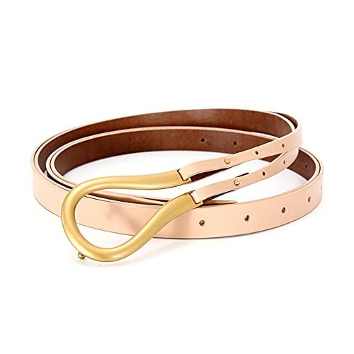 XIN NA RUI Cinturón para mujer, de piel auténtica, hebilla única para cinturón de piel auténtica, correa de jeans liviana, correa de cintura femenina (color: caqui, tamaño: 120 cm)