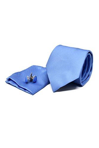 Krawatte Set mit Hellblau Krawatte, Einstecktuch und Manschettenknöpfe für Herren - 100% Seide - Klassisch, Elegant und Modern - (Geschenk Set, ideal für Männer zum Geburtstag, eine Hochzeit)