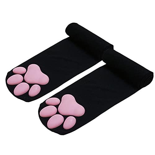 Mfacl muslo alto calcetines Calcetines altos de la rodilla para mujer - Cojín de carne de gato Kawaii Girls Keee High Socks 3D Cat Glaw Cat's Paws Calcetines sobre calcetines de rodilla Cosplay Lolita