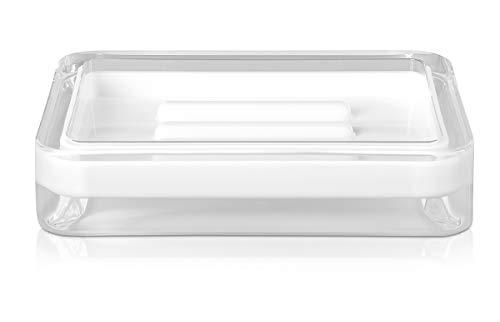 möve Line Seifenschale 12 x 8,5 x 2,5 cm aus Acryl, white
