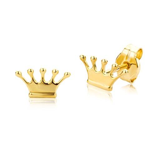 Miore Orecchino per Bambina Oro Giallo 18 Kt / 750  Piccoli a  Lobo con Corona