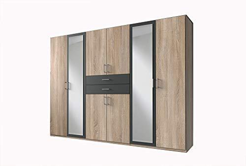 lifestyle4living Kleiderschrank mit Spiegel, Eiche Sonoma, Graphit-Grau, 270 cm | Drehtürenschrank 8 türig mit 2 Schubladen im Industrial-Stil